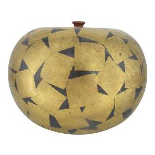 Swedish Paul Hoff Gustavsberg Gold Geometric Pot For Sale