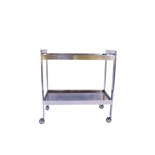 Mid Century Chrome Smoked Glass Two Tier Rolling Bar Cart For Sale