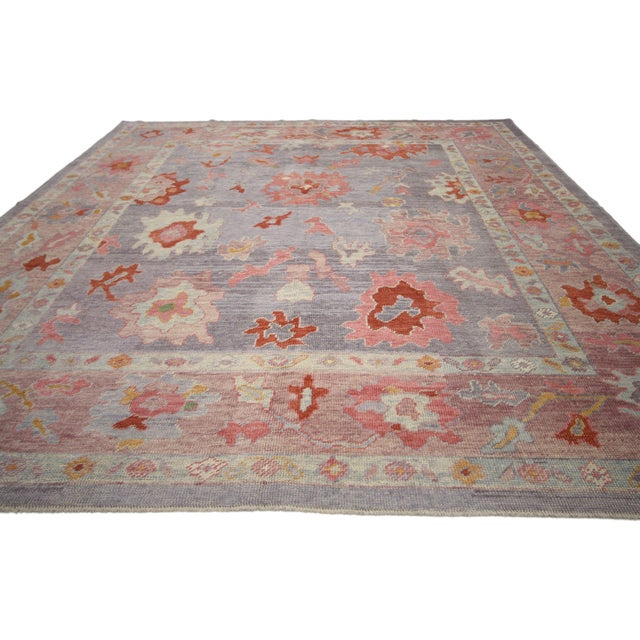 Contemporary Turkish Oushak Rug With Modern Colors - 8′ × 9′7″ For Sale - Image 4 of 9