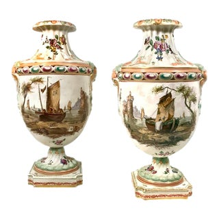 Capodimonte Style Scenic Hand-Painted Urns - a Pair For Sale