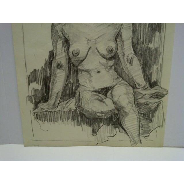 """Very Serious Nude II"" Original Drawing on Paper For Sale - Image 4 of 5"