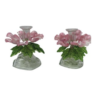 1950s Venetian Murano Glass Pink and Green Barovier Toso Candlesticks - a Pair For Sale