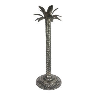 Tall Palm Tree Design Polished Nickel Candlestick For Sale
