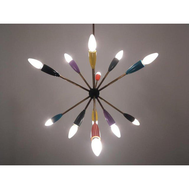1950s Sputnik lamp in different colors. We have a couple of these Lamps in stock. 12 x E14 bulbs. Wiring is in good...