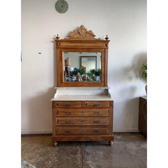 Late 19th Century Victorian Marble Top Chest Of Drawers With Mirror For Sale In Los Angeles - Image 6 of 10