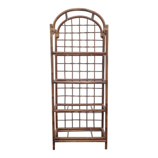 Vintage Mid Century Modern Bamboo Rattan Bookcase ~ Etagere Chinese Chippendale For Sale