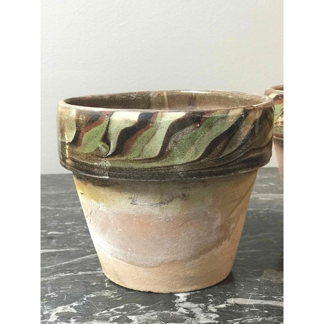 Mid-Century Modern Set of Four Decorated and Glazed Rim Pots From 1960s England For Sale - Image 3 of 6