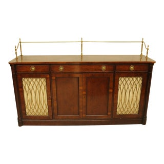 Antique 1930s - 40s Art Deco Mahogany & Brass Sideboard For Sale