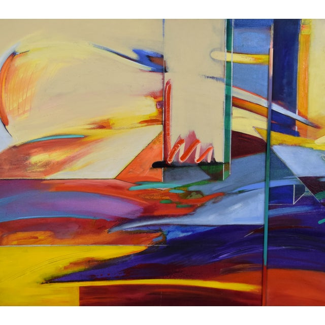 Abstract 1990s Abstract Geometric Oil Painting For Sale - Image 3 of 11
