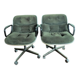 Vintage Knoll Pollock Green Mohair Velvet Executive Chairs - a Pair For Sale