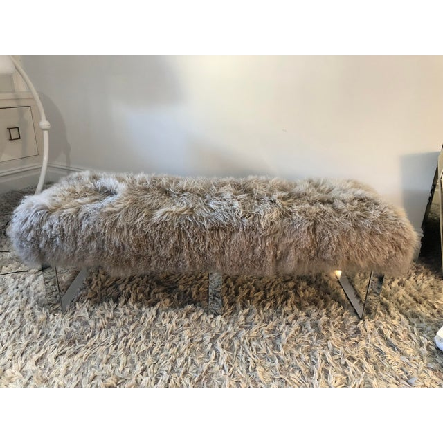 Gray Wool Furry Bench For Sale - Image 4 of 4