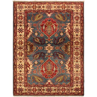 Kazak Lazaro Blue & Ivory Hand-Knotted Wool Rug - 3′2″ × 5′ For Sale