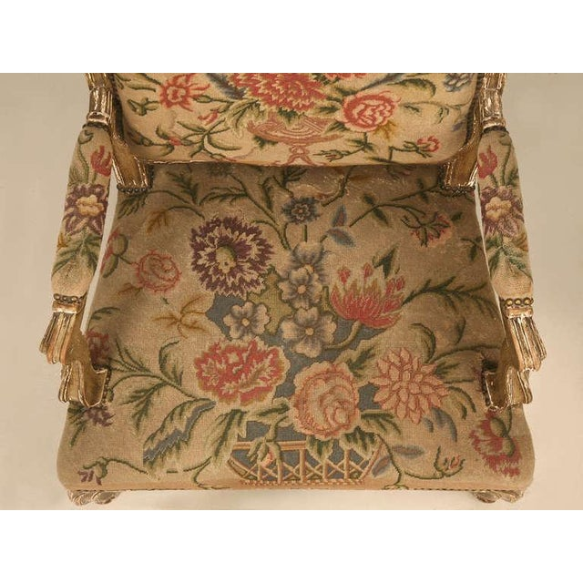 English Traditional Original Paint Antique Italian Armchairs with Needlepoint - a pair For Sale - Image 3 of 10