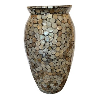 Contemporary Lacquer Mother of Pearl Vessel Vase For Sale