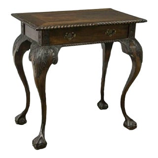 Antique English Chippendale Style Carved Mahogany Side Table For Sale