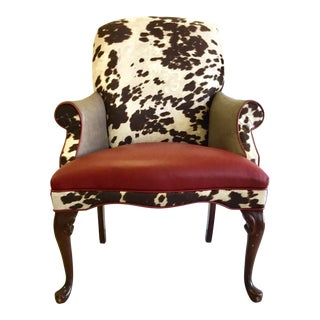 Reupholstered Wing Chair in Cowhide Fabric With Red and Taupe Breathable Vinyl For Sale