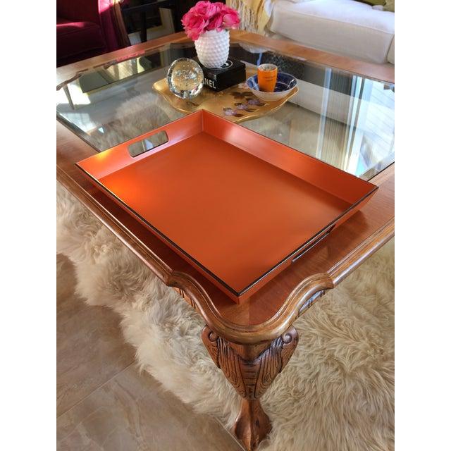 Mid-Century Modern Mid Century Modern Orange and Espresso Bar Tray For Sale - Image 3 of 13