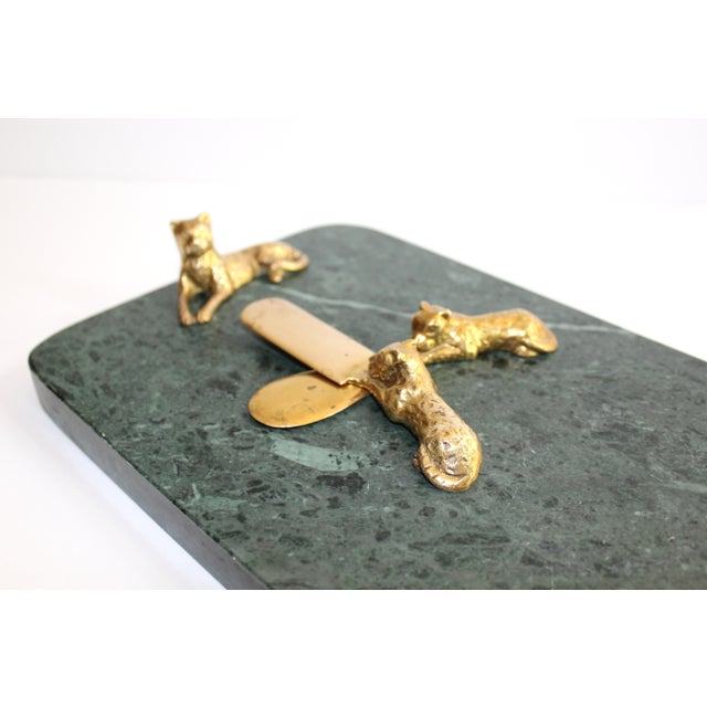 Green Vintage Green Marble Tray With Gold Leopard Serving Knives, 1970's For Sale - Image 8 of 12