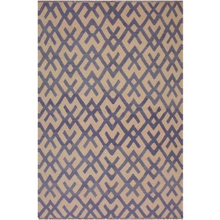Bauhaus Anglea Hand-Woven Kilim Wool Rug - 5'11 X 8'1 For Sale
