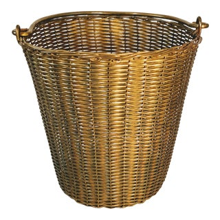 Vintage Brass Wire Basket With Handle Woven For Sale