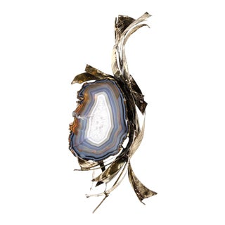 Exquisite Sliced Cerulean Blue Crystal Geode Wall Sculpture by Marc D'Haenens For Sale