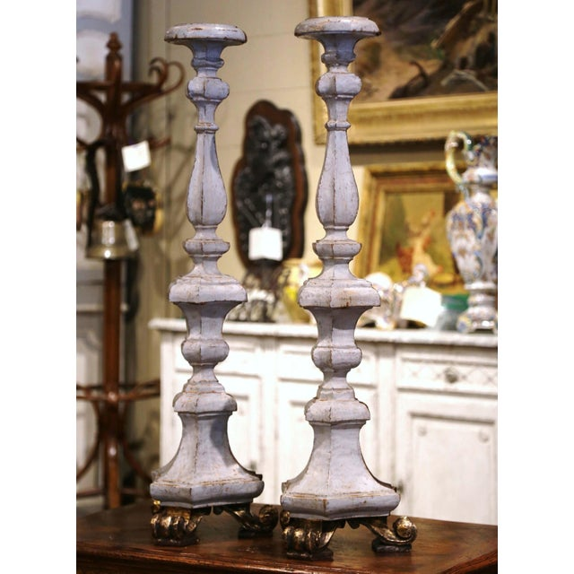 Silver 19th Century Italian Carved Two-Tone Giltwood Cathedral Candlesticks - a Pair For Sale - Image 8 of 13