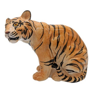 Mid-Century Italian Terra Cotta Tiger Figurine For Sale
