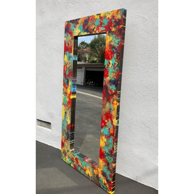 """Abstract Abstract Freeform Painted Custom Full Length Mirror - 37""""X 75"""" For Sale - Image 3 of 11"""