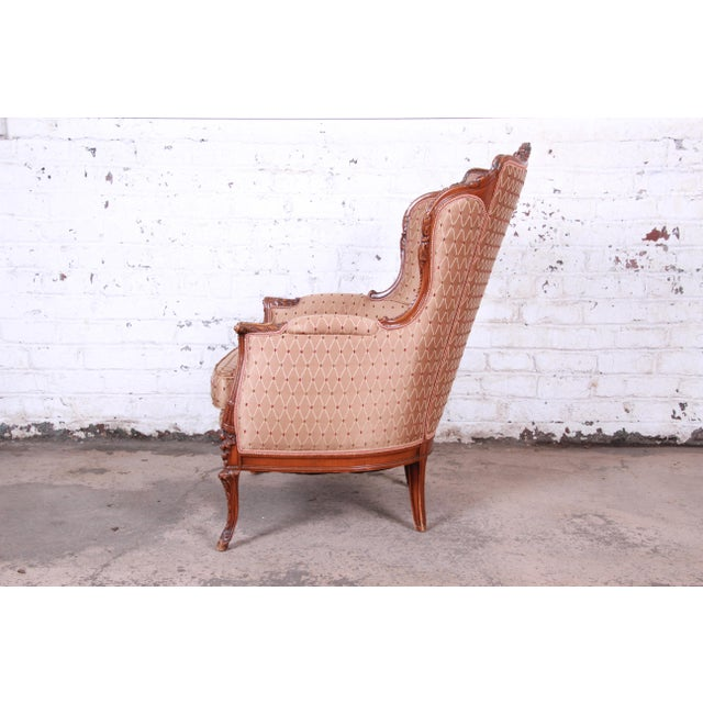 Wood Antique French Carved Wing Back Lounge Chair For Sale - Image 7 of 13