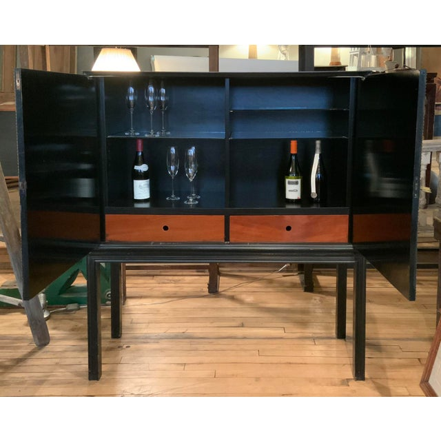 Black 1940s Tommi Parzinger Lacquered Leather Bar Cabinet For Sale - Image 8 of 11