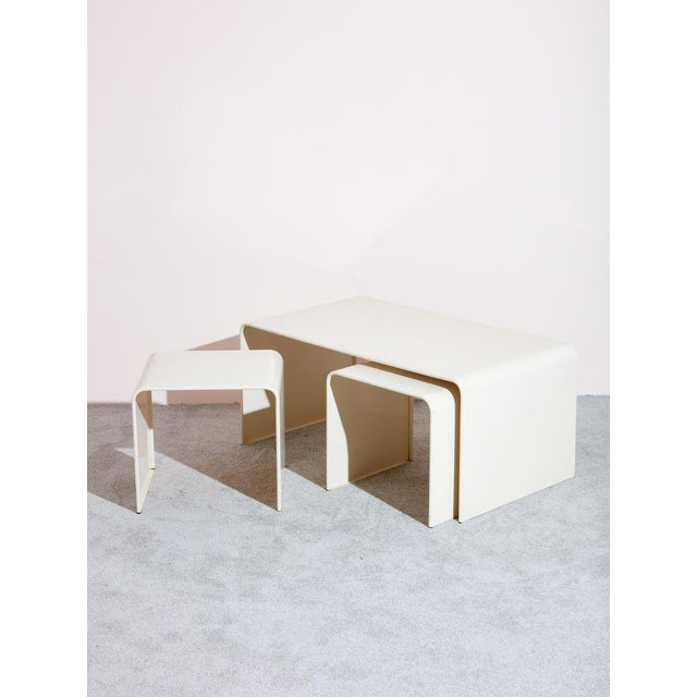 Beige Waterfall Coffee Table and Side Table Set - 3 Pc. Set For Sale - Image 4 of 4
