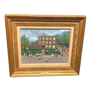 "1970s Vintage Folk Art Painting ""Lemonade $0.01"" by Mollie Simon"