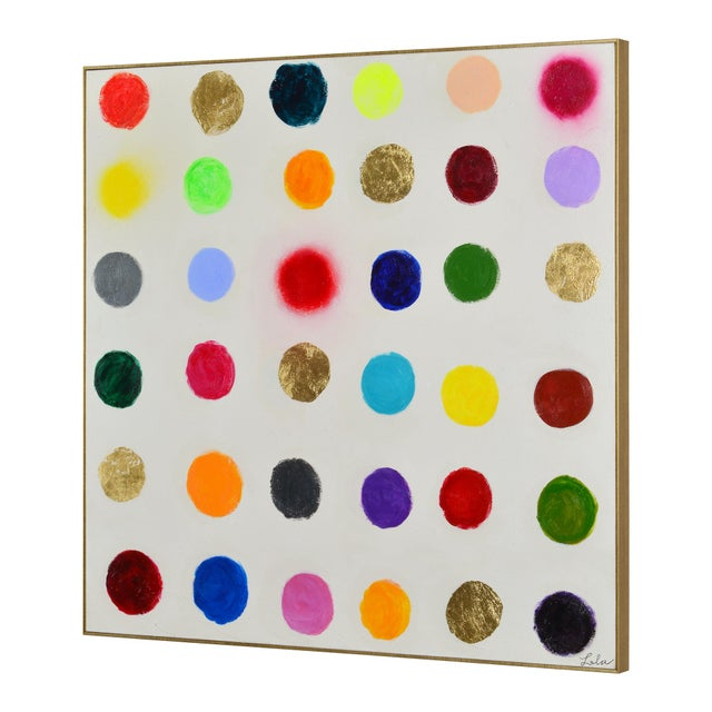 Vibrant pompoms give this modern painting on canvas a major pop of personality. A Technicolor palette combines Matte...