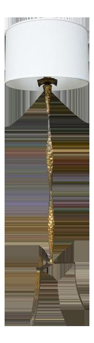 Spanish gilt iron floor lamp with tripod base image 1 of 6