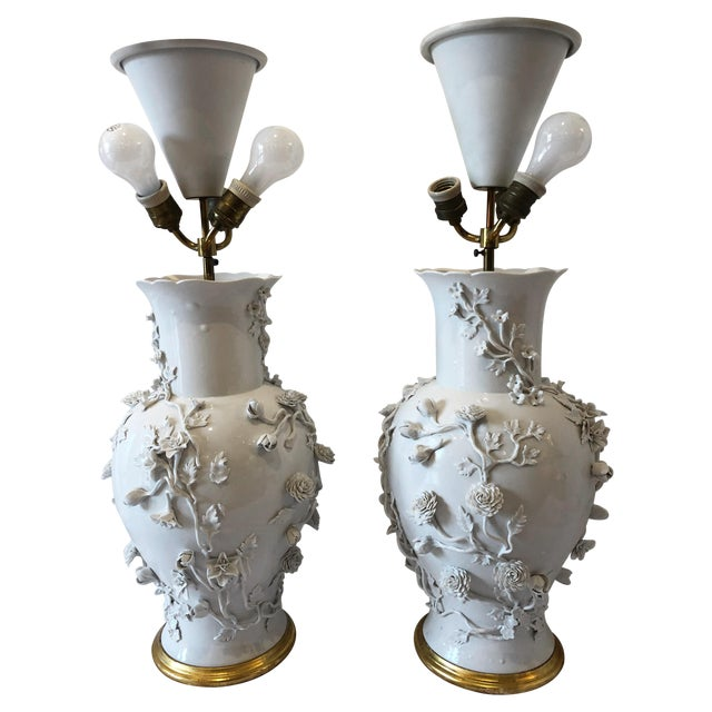 Pair of Large Chinese Blanc De Chine Porcelain Vase Lamps, Applied Flowers For Sale