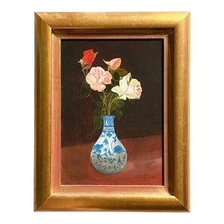 Contemporary Flowers in a Chinoiserie Style Vase Still Life Oil Painting, Framed For Sale