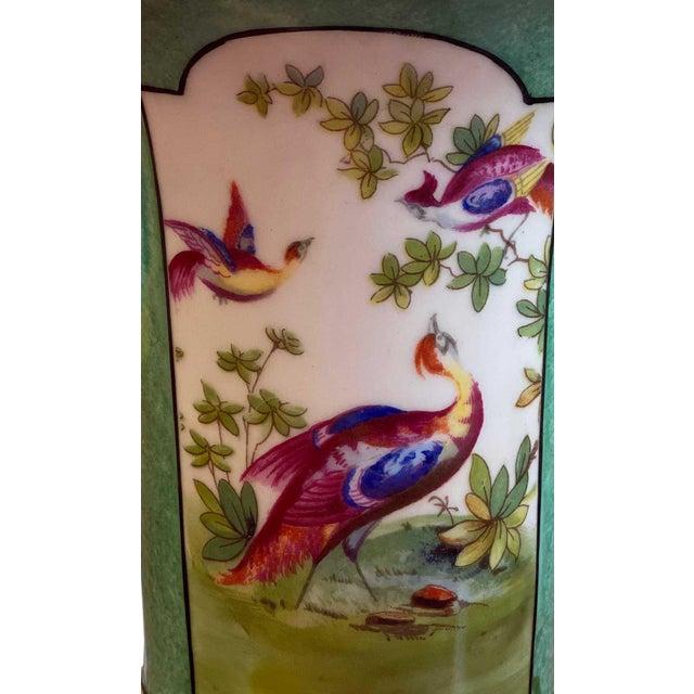 Three Oriental Pheasants in center of this pretty antique green German, R&S Prussia, Tillowitz vase with gilt trim. Vase...