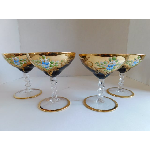 Boho Chic Vintage Amethyst Bohemian Glass Ice Bucket and Champagne Coupes - Set of 5 For Sale - Image 3 of 13