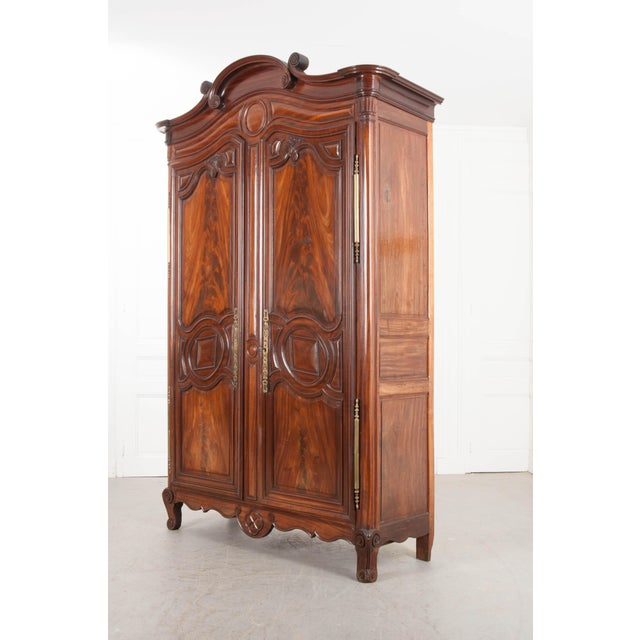 Brown 18th Century French Mahogany Armoire from the Port of Normandy For Sale - Image 8 of 13