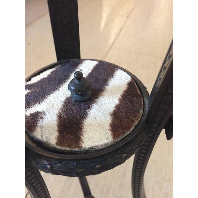 Antique French Bronze & Zebra Hide Gueridon Table - Image 7 of 8