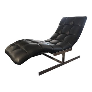Milo Baughman Style Leather Wave Chaise For Sale