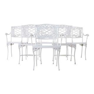 Set of Six Brown Jordan Neoclassical Aluminum Garden Chairs For Sale