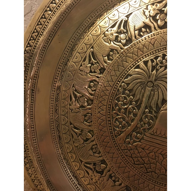 Hammered Brass Elephant Detailed Tray - Image 4 of 6