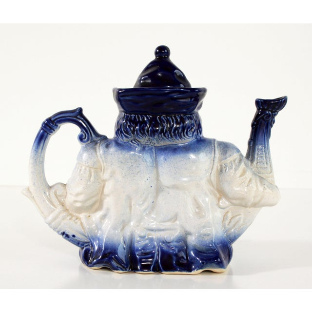 Ceramic Flow Blue & White Staffordshire Style Figural Toby Judge Teapot For Sale - Image 7 of 9