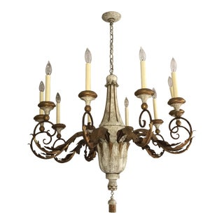 Niermann Weeks Carved Acanthus Chandelier in White and Gold For Sale