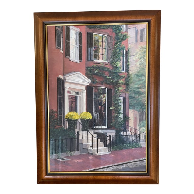2000s Louisburg Square Boston House Portrait Oil Painting by Heather Risley, Framed For Sale