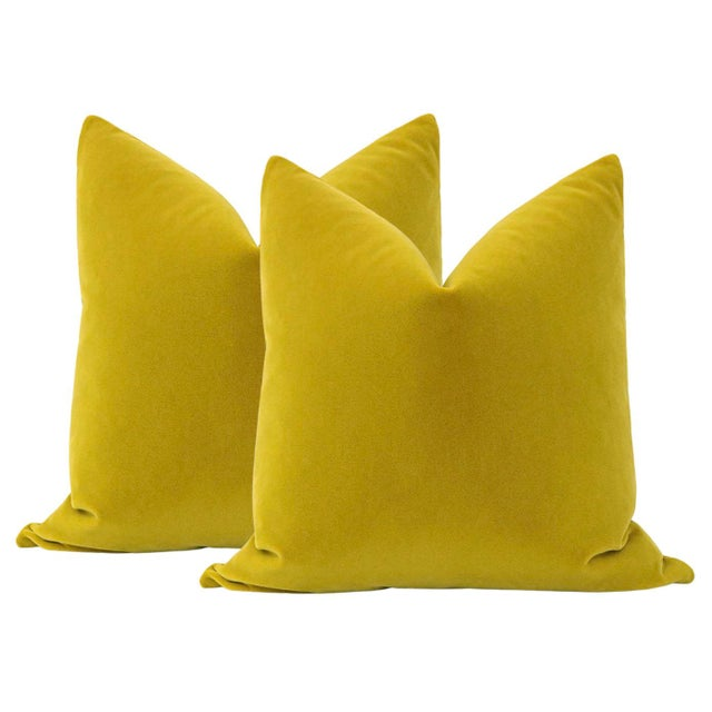 "2010s 22"" Chartreuse Mohair Pillows - a Pair For Sale - Image 5 of 5"