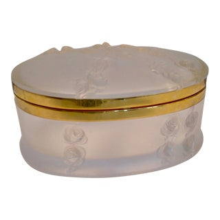 Oval Lalique Hinged Box With Gilt Metal Mounts For Sale