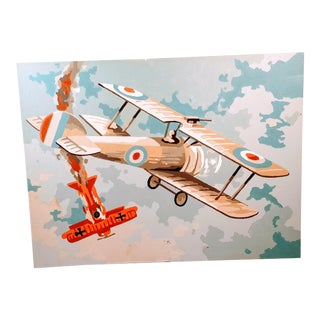 Vintage Mid-Century Paint by Number Airplane Painting For Sale