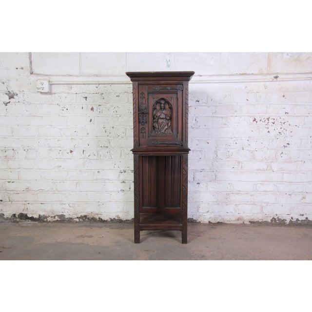 19th Century Belgian Dark Walnut Gothic Bar Cabinet For Sale - Image 10 of 10